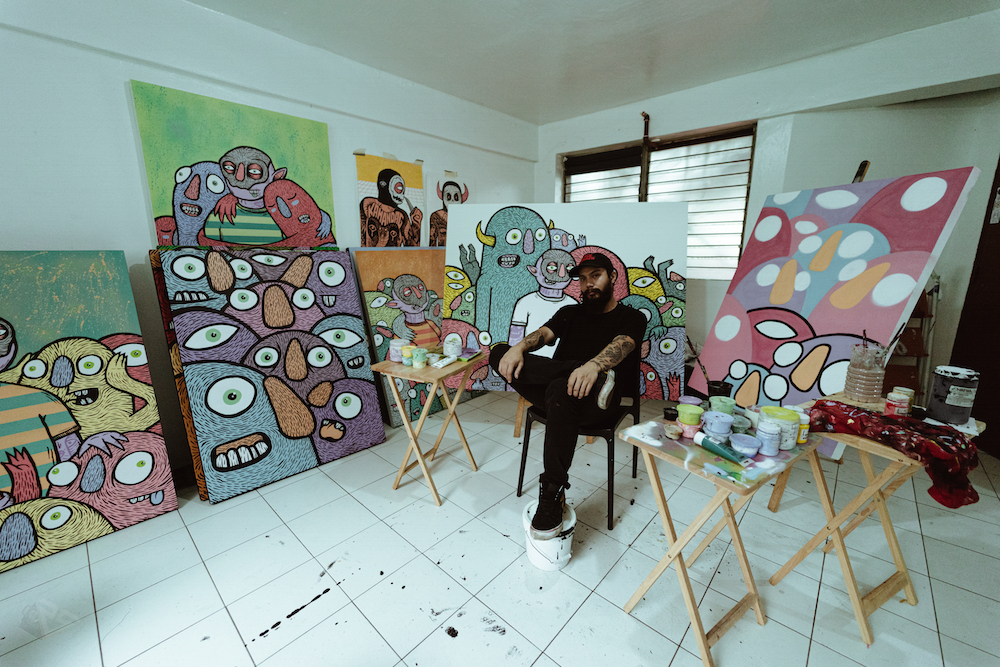 Distort Monsters at work on Secret Fresh solo show.